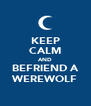KEEP CALM AND BEFRIEND A WEREWOLF - Personalised Poster A4 size
