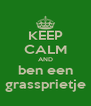 KEEP CALM AND ben een grassprietje - Personalised Poster A4 size