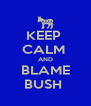 KEEP  CALM  AND BLAME BUSH  - Personalised Poster A4 size
