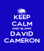 KEEP CALM AND BLAME DAVID CAMERON - Personalised Poster A4 size