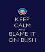 KEEP CALM AND  BLAME IT ON BUSH - Personalised Poster A4 size