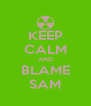 KEEP CALM AND BLAME SAM - Personalised Poster A4 size