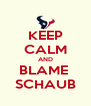 KEEP CALM AND BLAME  SCHAUB - Personalised Poster A4 size