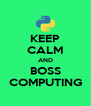 KEEP CALM AND BOSS COMPUTING - Personalised Poster A4 size