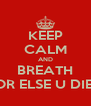 KEEP CALM AND BREATH OR ELSE U DIE  - Personalised Poster A4 size