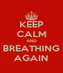 KEEP CALM AND BREATHING AGAIN - Personalised Poster A4 size