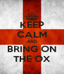 KEEP CALM AND BRING ON THE OX - Personalised Poster A4 size