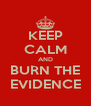 KEEP CALM AND BURN THE EVIDENCE - Personalised Poster A4 size