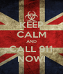 KEEP CALM AND CALL 911 NOW! - Personalised Poster A4 size