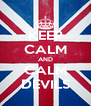 KEEP CALM AND CALM DEVILS - Personalised Poster A4 size