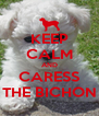 KEEP CALM AND CARESS THE BICHON - Personalised Poster A4 size
