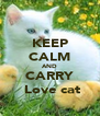 KEEP CALM AND CARRY  Love cat - Personalised Poster A4 size
