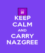 KEEP CALM AND CARRY NAZGREE - Personalised Poster A4 size
