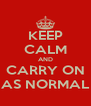 KEEP CALM AND CARRY ON AS NORMAL - Personalised Poster A4 size