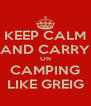 KEEP CALM AND CARRY ON CAMPING LIKE GREIG - Personalised Poster A4 size
