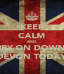 KEEP CALM AND CARRY ON DOWN TO DEVON TODAY - Personalised Poster A4 size