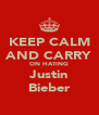 KEEP CALM AND CARRY ON HATING Justin Bieber - Personalised Poster A4 size