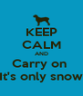 KEEP CALM AND Carry on  It's only snow - Personalised Poster A4 size