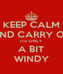 KEEP CALM AND CARRY ON ITS ONLY A BIT WINDY - Personalised Poster A4 size