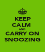 KEEP CALM  AND CARRY ON SNOOZING - Personalised Poster A4 size