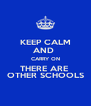 KEEP CALM AND  CARRY ON THERE ARE  OTHER SCHOOLS - Personalised Poster A4 size