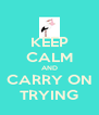 KEEP CALM AND CARRY ON TRYING - Personalised Poster A4 size