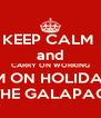 KEEP CALM  and CARRY ON WORKING I'M ON HOLIDAY IN THE GALAPAGOS - Personalised Poster A4 size