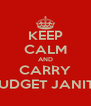 KEEP CALM AND CARRY ORDER FROM BUDGET JANITORIAL SUPPLY - Personalised Poster A4 size