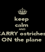keep  calm  AND CARRY ostriches  ON the plane  - Personalised Poster A4 size