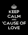 KEEP CALM AND 'CAUSE OF LOVE - Personalised Poster A4 size