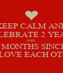 KEEP CALM AND CELEBRATE 2 YEARS AND  2 MONTHS SINCE  WE LOVE EACH OTHER - Personalised Poster A4 size