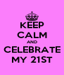KEEP CALM AND CELEBRATE MY 21ST - Personalised Poster A4 size