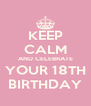 KEEP CALM AND CELEBRATE YOUR 18TH BIRTHDAY - Personalised Poster A4 size