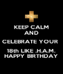 KEEP CALM AND CELEBRATE YOUR  18th LIKE .H.A.M. HAPPY BIRTHDAY - Personalised Poster A4 size