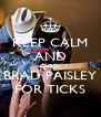 KEEP CALM AND CHECK BRAD PAISLEY FOR TICKS - Personalised Poster A4 size