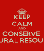 KEEP CALM AND CONSERVE  NATURAL RESOURCES - Personalised Poster A4 size