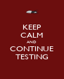 KEEP CALM AND CONTINUE TESTING - Personalised Poster A4 size