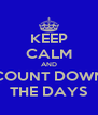 KEEP CALM AND COUNT DOWN THE DAYS - Personalised Poster A4 size