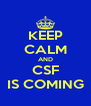 KEEP CALM AND CSF IS COMING - Personalised Poster A4 size