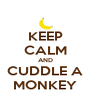 KEEP CALM AND CUDDLE A MONKEY - Personalised Poster A4 size