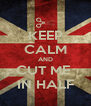 KEEP CALM AND CUT ME  IN HALF - Personalised Poster A4 size