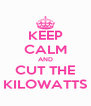 KEEP CALM AND CUT THE KILOWATTS - Personalised Poster A4 size