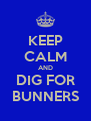 KEEP CALM AND DIG FOR BUNNERS - Personalised Poster A4 size