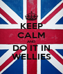 KEEP CALM AND DO IT IN WELLIES - Personalised Poster A4 size