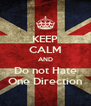 KEEP CALM AND Do not Hate One Direction - Personalised Poster A4 size
