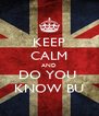 KEEP CALM AND DO YOU  KNOW BU - Personalised Poster A4 size