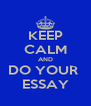 KEEP CALM AND DO YOUR  ESSAY - Personalised Poster A4 size