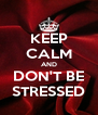 KEEP CALM AND DON'T BE STRESSED - Personalised Poster A4 size