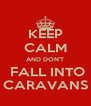 KEEP CALM AND DON'T  FALL INTO CARAVANS - Personalised Poster A4 size