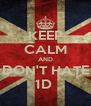 KEEP CALM AND DON'T HATE 1D  - Personalised Poster A4 size